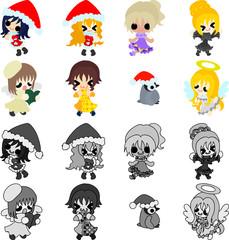 My original Christmas icons of stylish girls