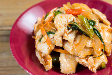 wok fried chicken stir fry with sweet peppers and chinese vegeta