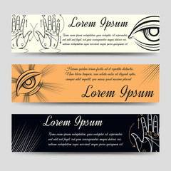 Isoteric banners set. Horizontal banners with alchemy and palmistry elements. Vector ilustration