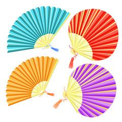 set of colored Japanese fan of.  illustration