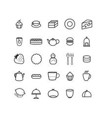 Logo, picto, icônes, pâtisserie, thé, salon de thé, gâteau, déjeuner, goûter