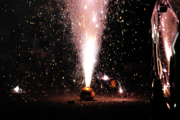 Fireworks or firecrackers during Diwali or Christmas festival