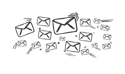 Fresco of mail hand drawn icons