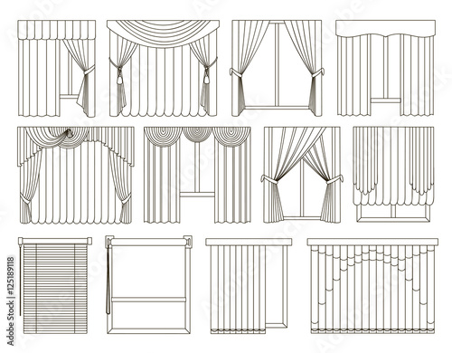 Different Curtains And Blinds For Interior Design Stock