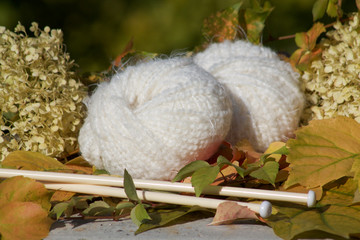 white soft balls of woll  ready for needlework