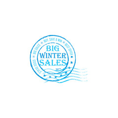 Big winter Sales grunge post stamp.Grunge post stamp for celebrating Winter holidays (Christmas and New Year). Big sales; buy, save and win; best offer; good deals.