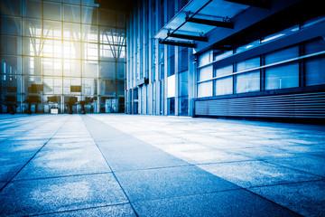 empty brick floor front of modern building in Shanghai.