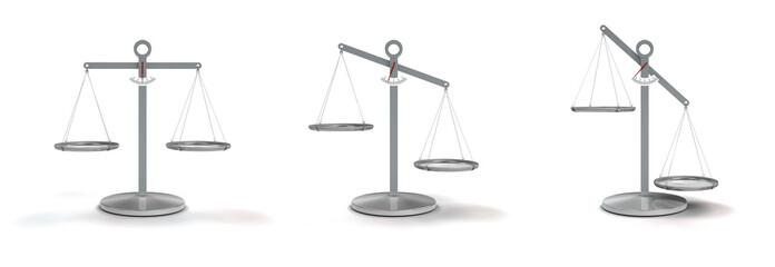 Waage in Gleichgewicht und Ungleichgewicht auf weißem Hintergrund