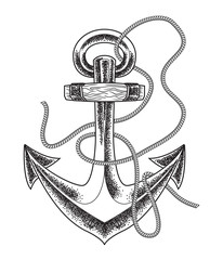 Hand drawn old anchor in vintage style . Vector line art illustration