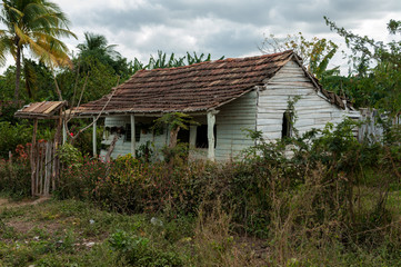 Ruined old house by road in Trinidad, Cuba