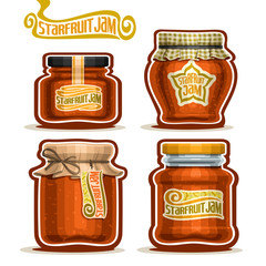 Vector logo Starfruit Jam in Jars with paper lid, Pot home made tropical starfruit jams, twine bow, homemade star fruit exotic carambola jam jar, pot with label, checkered cloth, isolated on white.