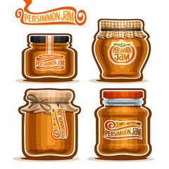 Vector logo Persimmon Jam in Jars with paper cover lid, rustic Pot home made persimmon jams, twine rope bow, homemade fruit jam jar, farm dessert pot with label, checkered cloth cap, isolated on white