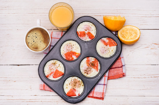 Muffin tin baked eggs recipe. Breakfast.