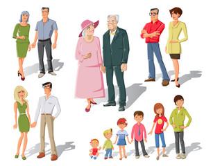 Family Generations Cartoon Set