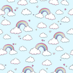 Vector pattern with rainbow.