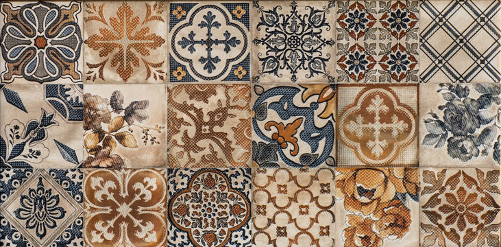 tiles with colored mosaics