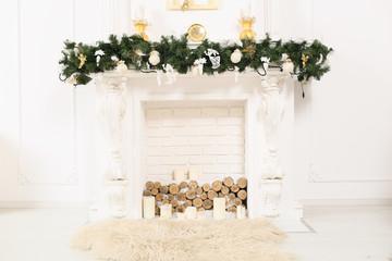decorated elegant christmas fireplace