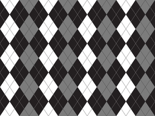 Black white gray argyle textile seamless pattern
