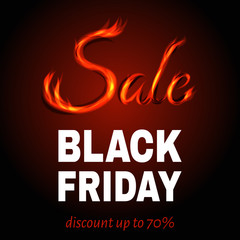 Black Friday hot sale background with sign from fire.