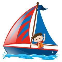 Boy on blue sailboat
