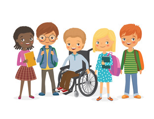 Disabled child with his international friends