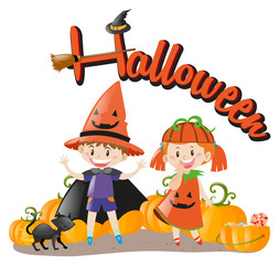 Halloween theme with kids in costume