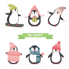 Christmas and new year card with cute penguins in different clot