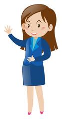 Businesswoman waving hand hello