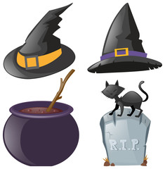 Halloween set with hats and pot