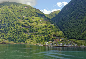 Approach to the village of Geiranger in the headwaters of the beautiful Geiranger Fiord in Norway