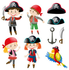 Kids in pirate costume and parrot pet