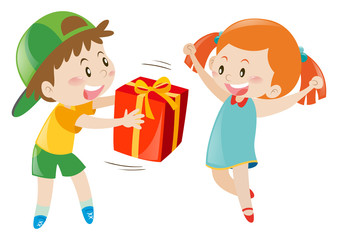 Boy giving present to girl