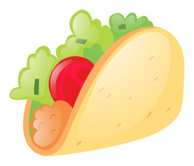 Soft taco on white background
