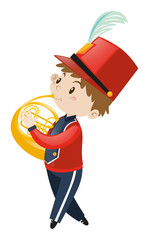 Boy in school band playing french horn