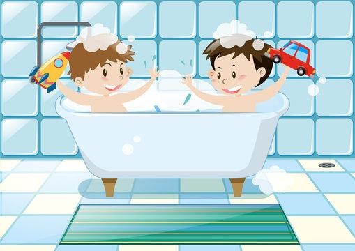 Two boys taking bubble bath