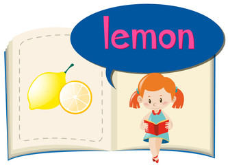 Girl and fresh lemon in the book