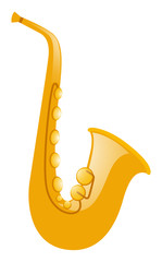 Golden saxophone on white background
