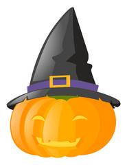 Jack-o-lantern wearing witch hat