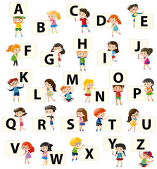 Alphabet font design on square board