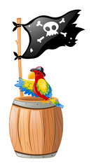 Parrot and pirate flag