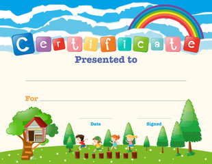 Certificate template with kids in field