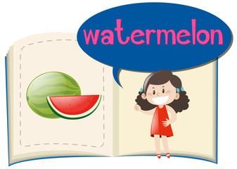 Watermelon in the book and girl saying word