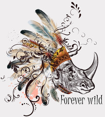 Vector tribal design in boho style. Headdress with feathers and