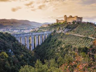 Scenic view of Albornoz medieval castle and Ponte delle Torri, Spoleto, Italy