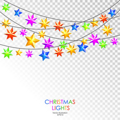 Round colorful christmas stars lights on blue background.  Christmas garland. Vector illustration.