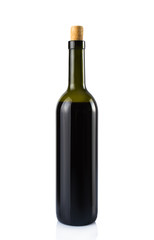 Bottle of red wine. On white, isolated background.