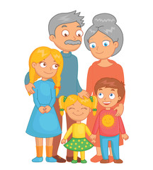 Cheerful grandparents, grandson and granddaughters posing together. Funny bright cartoon character. Vector illustration.
