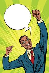 happy African businessman winner emotions