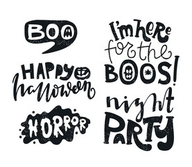 Horror. Boo. Text banner, background for Halloween Party Night. Happy Halloween.