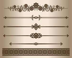 Design elements - decorative line dividers and ornaments. Vector illustration.